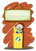 Stock Illustration of A trashcan with a baby below the hanging signboard
