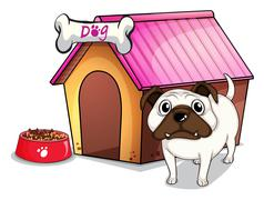 A dog outside the doghouse Stock Illustration