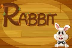 Stock Illustration of A wooden frame with a rabbit