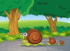 Snails at the road - stock illustration