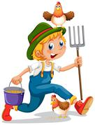 Stock Illustration of A boy running with a pail of feeds and a rake