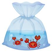 Crabs inside the plastic - stock illustration