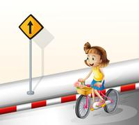 Stock Illustration of A girl biking at the road