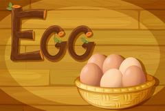 A frame with a basket of eggs Stock Illustration