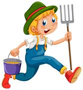 Stock Illustration of A gardener running with a rake and a pail