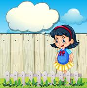 A young girl at the backyard with an empty callout - stock illustration