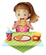 A hungry child eating Stock Illustration