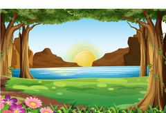 A river at the forest - stock illustration