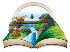 Waterfall book - stock illustration