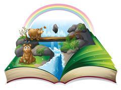 Waterfall book Stock Illustration