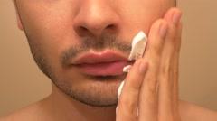 4K Applying Shaving Cream On Face Stock Footage