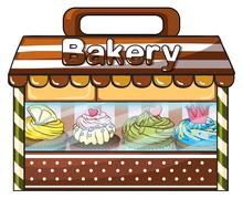 Stock Illustration of A bakery selling baked goodies and cakes