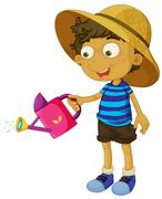A cute little boy with a sprinkler - stock illustration