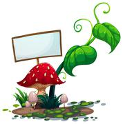 Stock Illustration of An empty signboard near the red mushroom