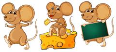 Three playful mice - stock illustration