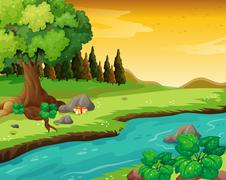 The flowing river at the forest - stock illustration