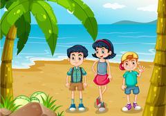Children strolling at the beach - stock illustration
