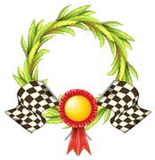 A ribbon with two racing flags Piirros