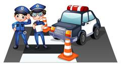 Police officers at the road - stock illustration