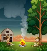 Two explorers making a campfire - stock illustration