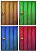 Four colourful doors - stock illustration