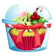 Stock Illustration of A clear disposable transparent container with a cupcake