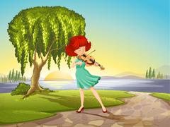 A talented girl with a violin - stock illustration