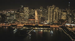 Aerial illuminated night view Port of San Francisco USA Stock Footage