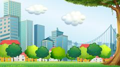 Trees near the tall buildings Stock Illustration