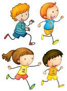 Simple kids running Stock Illustration