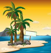 Stock Illustration of An empty signboard near the palm trees at the shore
