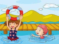 Kids enjoying the refreshing water - stock illustration