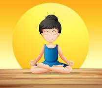 A girl concentrating while doing yoga - stock illustration