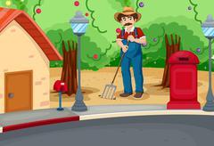 A man raking the soil near the road Stock Illustration