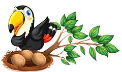Stock Illustration of A nest at the branch of a tree with a bird