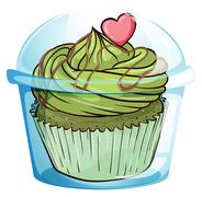 A cupcake with a green icing and a pink heart - stock illustration