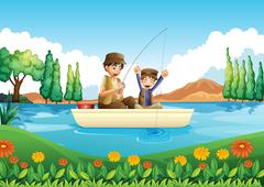 A father and son fishing Stock Illustration
