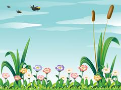 A garden with fresh flowers and the birds in the sky - stock illustration