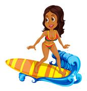 A tan girl surfing Stock Illustration