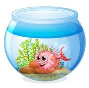A fish inside the transparent aquarium - stock illustration