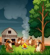 Playful wild animals making a campfire - stock illustration