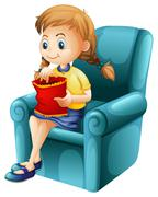 A girl eating junkfoods while sitting down Stock Illustration