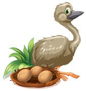 Stock Illustration of An ostrich beside the nest with eggs