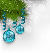christmas background with hanging glass balls and adornment - stock illustration