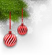 christmas background with hanging glass balls and fir branches - stock illustration