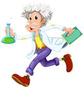 A scientist running hurriedly Stock Illustration