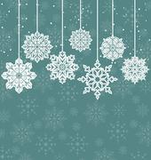 christmas background with variation snowflakes - stock illustration