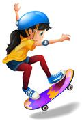 A young girl skateboarding Piirros