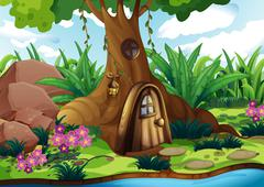 A treehouse at the forest - stock illustration