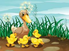 A duck and her ducklings near the grassland Stock Illustration